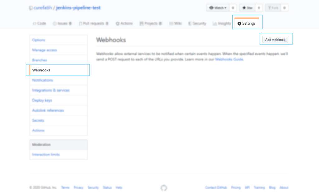 settings webhook